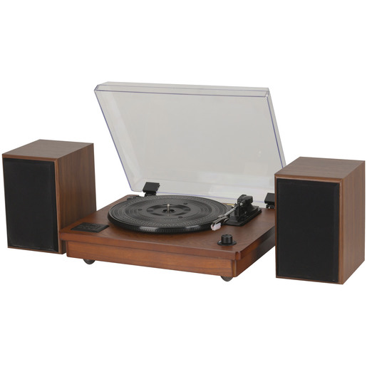 Wooden Turntable and Speaker Set